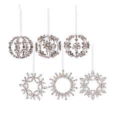 """As Is"" august & leo 6-pack Handmade Rhinestone Ornaments"