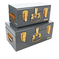 """""""As Is"""" august & leo Set of 2 Sierra Storage Trunks with Matte Gold..."""