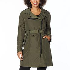 """""""As Is"""" Avec Les Filles Belted Moto Trench with Hooded Neckline"""