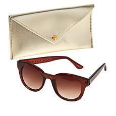 """""""As Is"""" Bethenny Round Sunglasses with Case and Cleaning Cloth"""