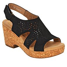 """""""As Is"""" Clarks Collection Giselle Bay Laser-Cut Suede Cork Wedge Sa..."""