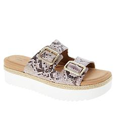 """""""As Is"""" Clarks Collection Lana Beach Leather 2-Band Platform Slide"""