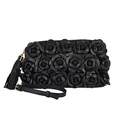 """As Is"" Clever Carriage Handcrafted Leather Rose Crossbody Clutch"