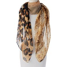 """As Is"" Collection 18 Patchwork Animal-Print Square Scarf"