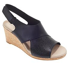 """As Is"" Collection by Clarks Lafley Joy Leather Cork Wedge Sandal"