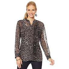 """As Is"" Colleen Lopez Animal Print Button-Down Blouse"