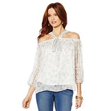 """""""As Is"""" Colleen Lopez Cold-Shoulder Printed Halter Blouse"""