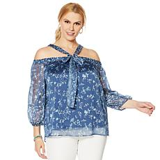 """As Is"" Colleen Lopez Cold-Shoulder Printed Halter Blouse"
