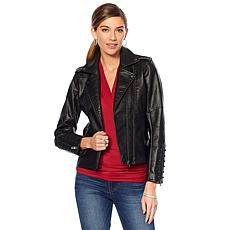 """""""As Is"""" Colleen Lopez Effortlessly Edgy Faux Leather Jacket"""