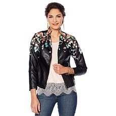 """As Is"" Colleen Lopez Embroidered Faux Leather Jacket"