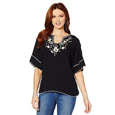 """As Is"" Colleen Lopez Embroidered Poncho Top"
