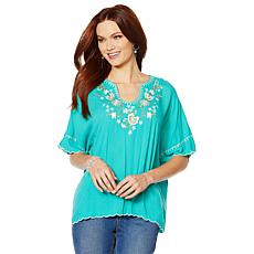 """""""As Is"""" Colleen Lopez Embroidered Poncho Top"""