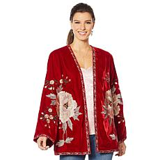 """""""As Is"""" Colleen Lopez Embroidered Velour Topper"""