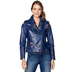 """""""As Is"""" Colleen Lopez Fabulous Floral Embroidered Faux Leather Jacket"""