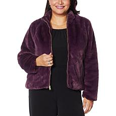 """As Is"" Colleen Lopez Faux Fur Zip-Front Jacket"