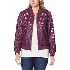 """""""As Is"""" Colleen Lopez Faux Leather and Mesh Bomber Jacket"""