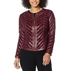 """""""As Is"""" Colleen Lopez Faux Leather and Mesh Jacket"""