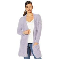 """""""As Is"""" Colleen Lopez Fuzzy Cardigan Sweater with Pockets"""