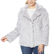 """""""As Is"""" Colleen Lopez Knitted Faux Fur Moto Jacket"""
