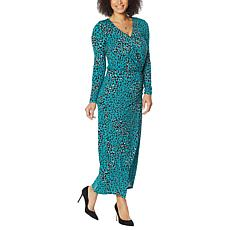 """""""As Is"""" Colleen Lopez Long-Sleeve Surplice Maxi Dress"""