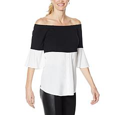 """As Is"" Colleen Lopez Off-the-Shoulder Colorblock Top"