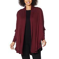 """""""As Is"""" Colleen Lopez Open Front Ruffle Poncho Sweater"""