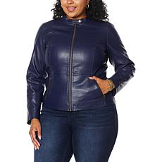 """As Is"" Colleen Lopez Peplum Faux Leather Jacket"