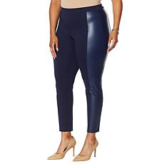 """As Is"" Colleen Lopez Ponte Slim Pant with Faux Leather Panels"