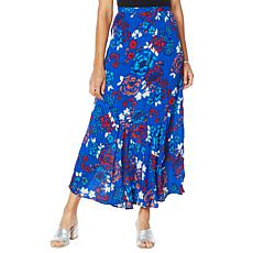 """As Is"" Colleen Lopez Printed Flounce Hem Maxi Skirt"
