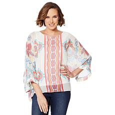 """As Is"" Colleen Lopez Printed Poncho Top with Tank"