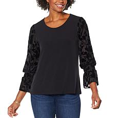 """""""As Is"""" Colleen Lopez Sheer Burnout Puff-Sleeve Top"""