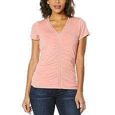 """""""As Is"""" Colleen Lopez Short-Sleeve Chain Detail Top with V-neck"""