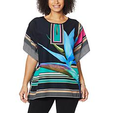 """""""As Is"""" Colleen Lopez Split Neck Printed Woven Poncho"""