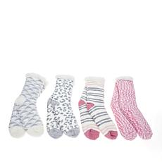 """As Is"" Comfort Code 4-pack Sherpa-Lined Cabin Socks"