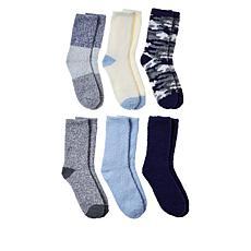 """As Is"" Comfort Code 6-pack Cozy Crew Socks"