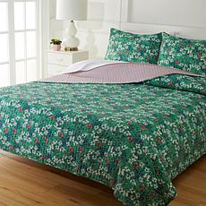 """As Is"" Cottage Collection 100% Cotton Stitched 3-pc Quilt Set - Ga..."