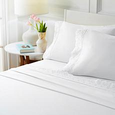 """""""As Is"""" Cottage Collection 4-piece Microfiber Eyelet Trim Sheet Set"""