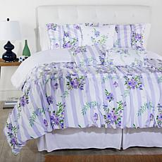 """As Is"" Cottage Collection Printed Ruffle 6-pc Comforter Set - Purp..."