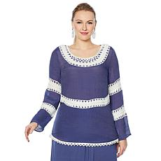 """""""As Is"""" Curations Crochet Woven Top"""
