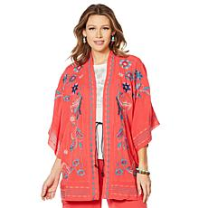 """As Is"" Curations Embroidered Gauze Kimono"