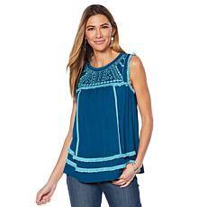"""""""As Is"""" Curations Embroidered Knit Tank"""