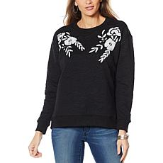 """""""As Is"""" Curations Quilted Sweatshirt with Applique"""