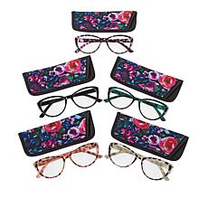 """""""As Is"""" Daisy Fuentes Floral 5-pack Blue Light Cat Eye Readers"""