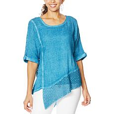 """As Is"" Democracy Mineral Wash Top with Crochet Detail"