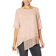 """""""As Is"""" Democracy Mineral Wash Top with Crochet Detail"""
