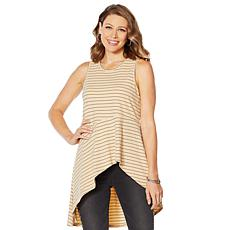 """As Is"" DG2 by Diane Gilman Asymmetric Drape Striped Tank"