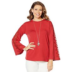 """""""As Is"""" DG2 by Diane Gilman Bell-Sleeve Top with Crochet Lace Trim"""