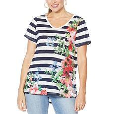 """""""As Is"""" DG2 by Diane Gilman Burnout Printed and Embellished Top"""