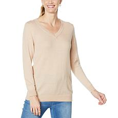 """As Is"" DG2 by Diane Gilman Cashmere-Blend V-Neck Sweater"