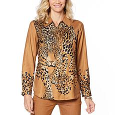 """""""As Is"""" DG2 by Diane Gilman Charmeuse Animal-Print Button Front Top"""